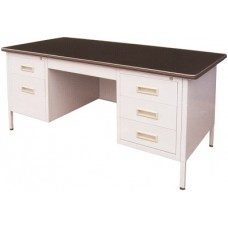 5' Double Pedestral Desk With Lino Top