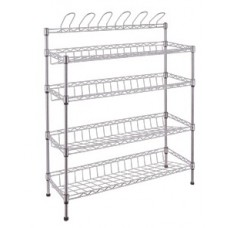 Chrome Shoe Rack  -  4 Slanted Shelves + 6 Slippers Hangers