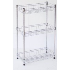 Chrome Kitchen Rack  -  3 Baskets Shelves
